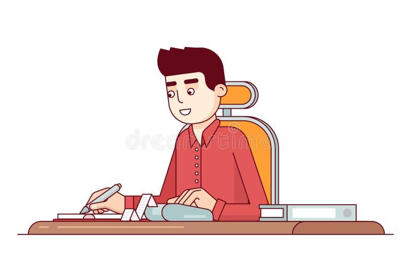 Клерк дела офиса делая вычисления расхода иллюстрация вектора
