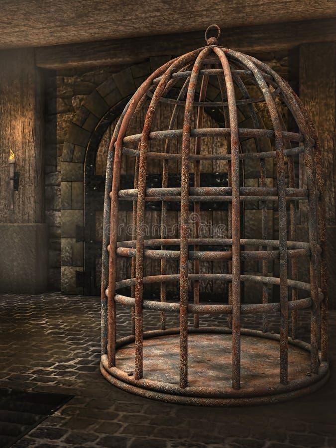 Клетка в подземелье иллюстрация штока