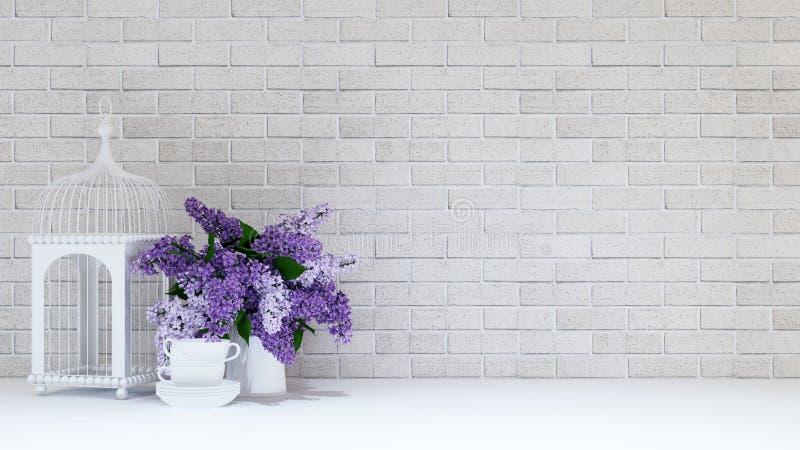 Клетка птицы с вазой фиолетовых цветка и чашки на предпосылке кирпича иллюстрация штока