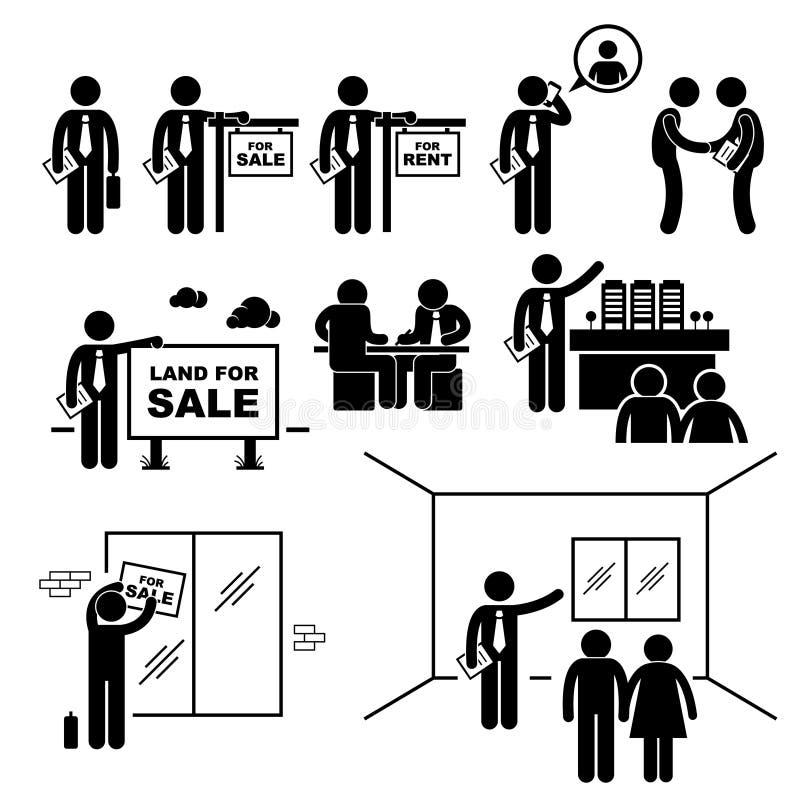 Клиент клиента недвижимости агента по продаже собственности иллюстрация вектора