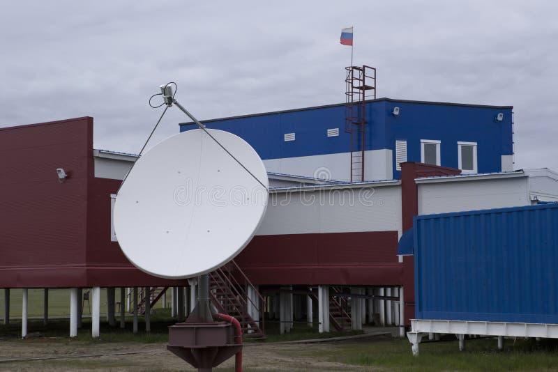 Климатологическая станция на острове Samoilovsky в перепаде Лены стоковое изображение rf