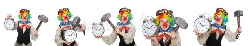 Клоун в различных представлениях изолированный на белизне стоковые фото