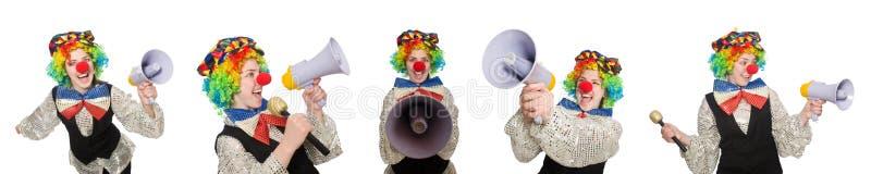 Клоун в различных представлениях изолированный на белизне стоковое фото
