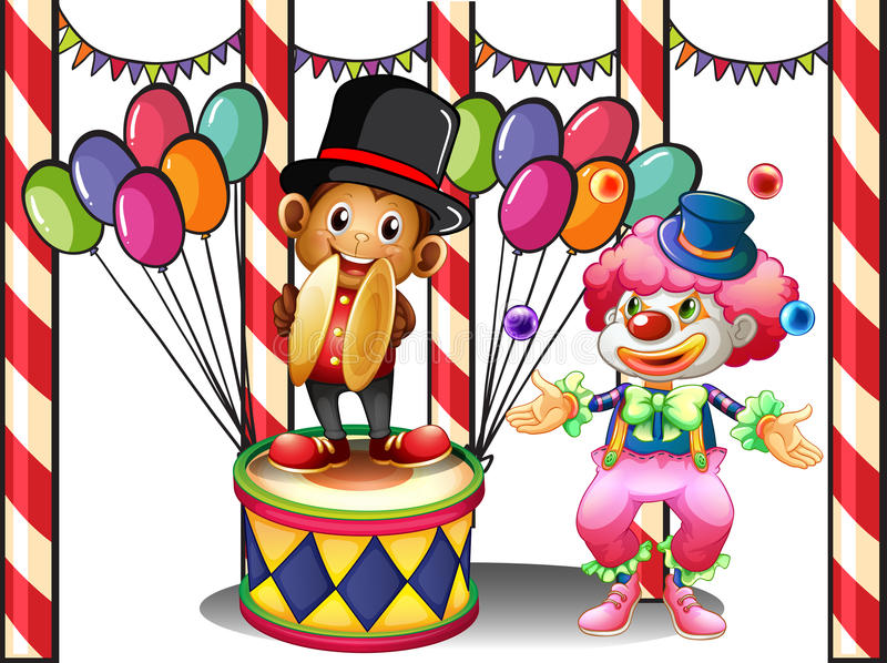 Клоун и обезьяна иллюстрация штока