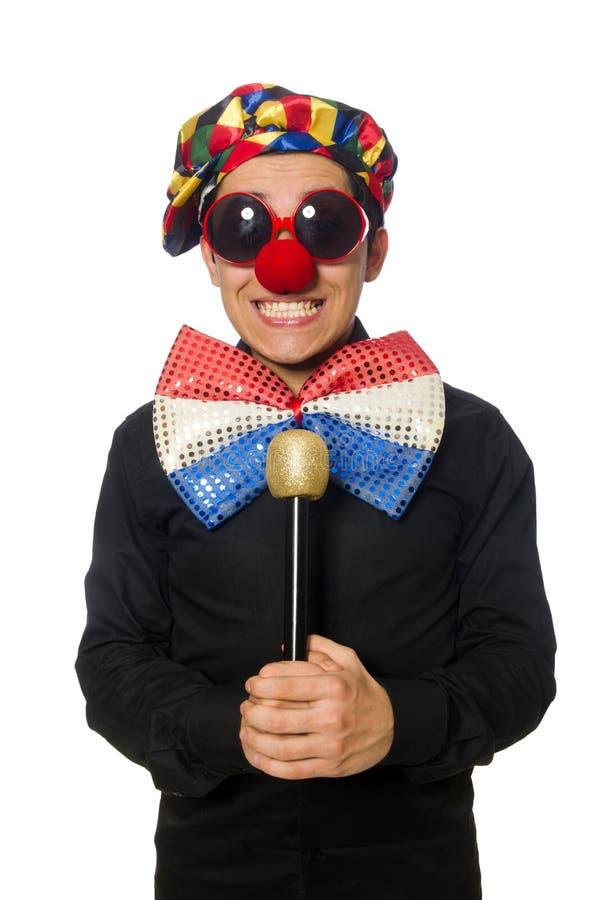Клоун при микрофон изолированный на белизне стоковое фото rf