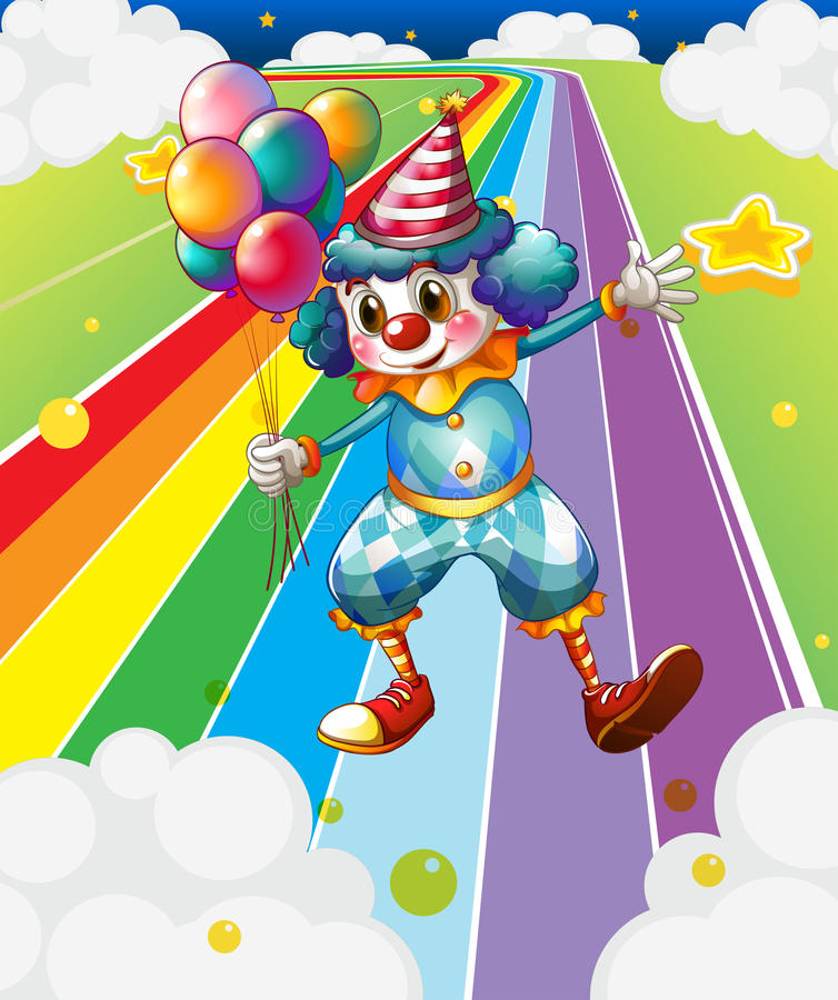Клоун с воздушными шарами на красочной улице бесплатная иллюстрация