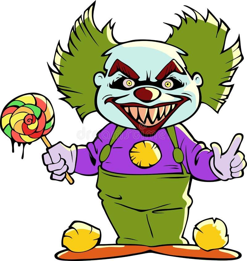 Клоун шаржа страшный злий иллюстрация вектора