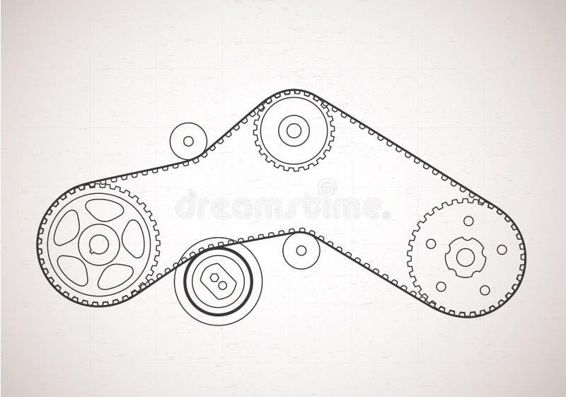 К схеме ременной передачи предпосылка техническая иллюстрация штока