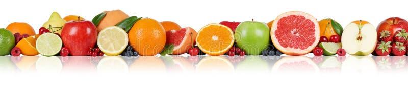 Клубника поленики ягоды яблока лимона апельсинов границы плодоовощей внутри стоковое изображение rf