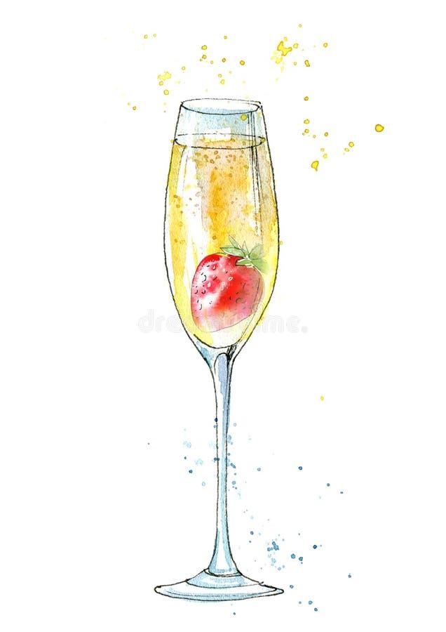 Клубники и шампанское иллюстрация вектора