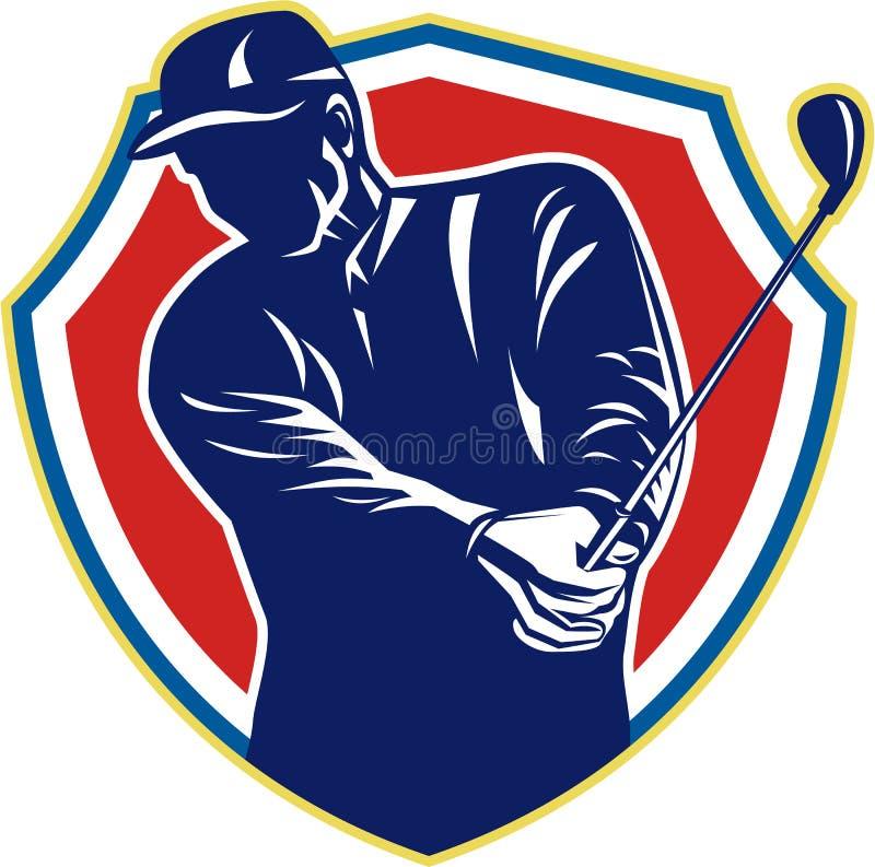Клуб качания игрока в гольф играя гольф ретро бесплатная иллюстрация