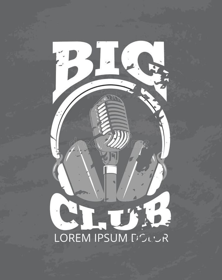 Клуб музыки караоке, логотип вектора студии аудио рекордный с микрофоном, наушниками бесплатная иллюстрация