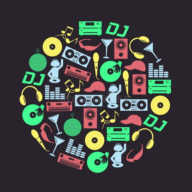 Клуб dj музыки красит значки установленный в круг eps10 иллюстрация штока