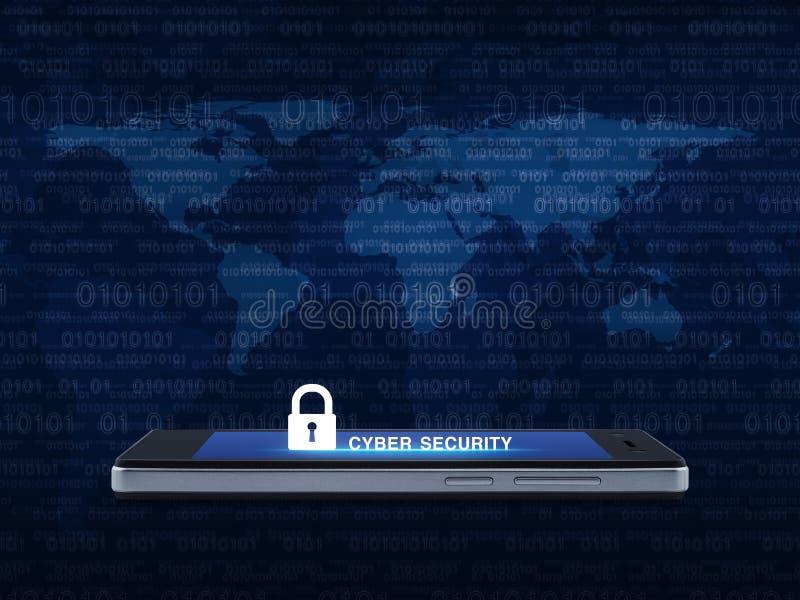 Ключевая безопасность значка и кибер отправляет СМС на современном умном экране ov телефона иллюстрация штока