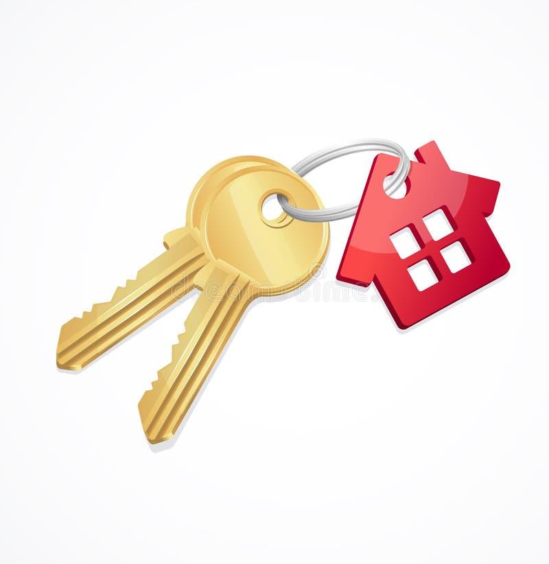 Ключи дома с красной ключевой цепью иллюстрация штока