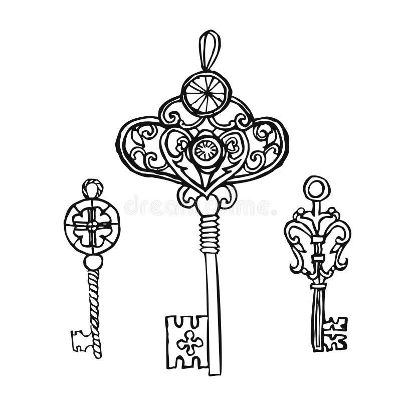 ключи установили сбор винограда Ретро ключевой шаблон дизайна логотипа вектора антиквариаты или старый значок вещи бесплатная иллюстрация