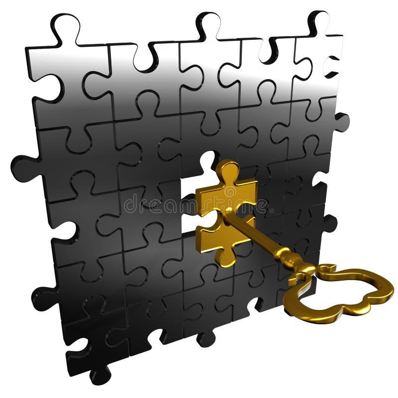 Ключ головоломки иллюстрация вектора