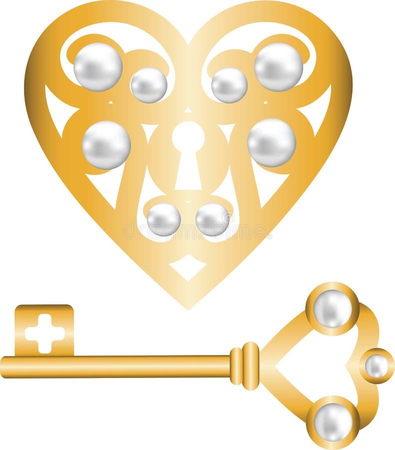 Ключ и сердце замка форменное иллюстрация штока