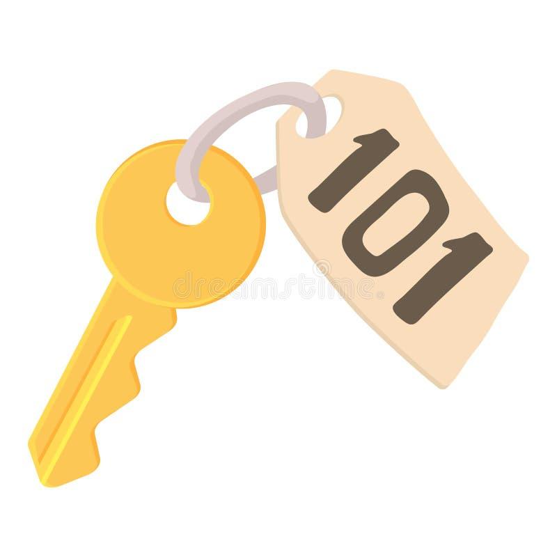 Ключ комнаты на значке гостиницы, стиле шаржа иллюстрация вектора