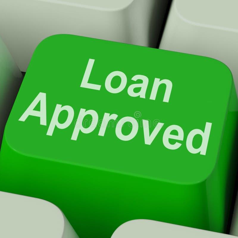 Ключ одобренный займом показывает согласование lending кредита стоковое фото