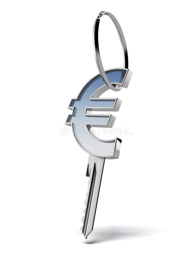 Ключ с знаком евро иллюстрация вектора