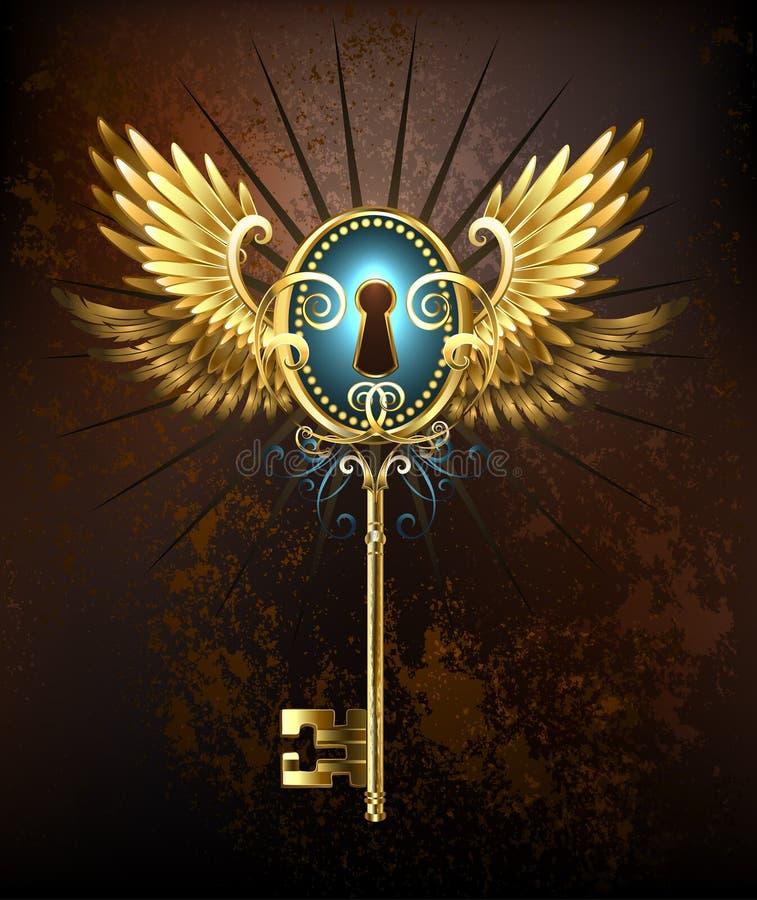Ключ с золотыми крылами иллюстрация штока