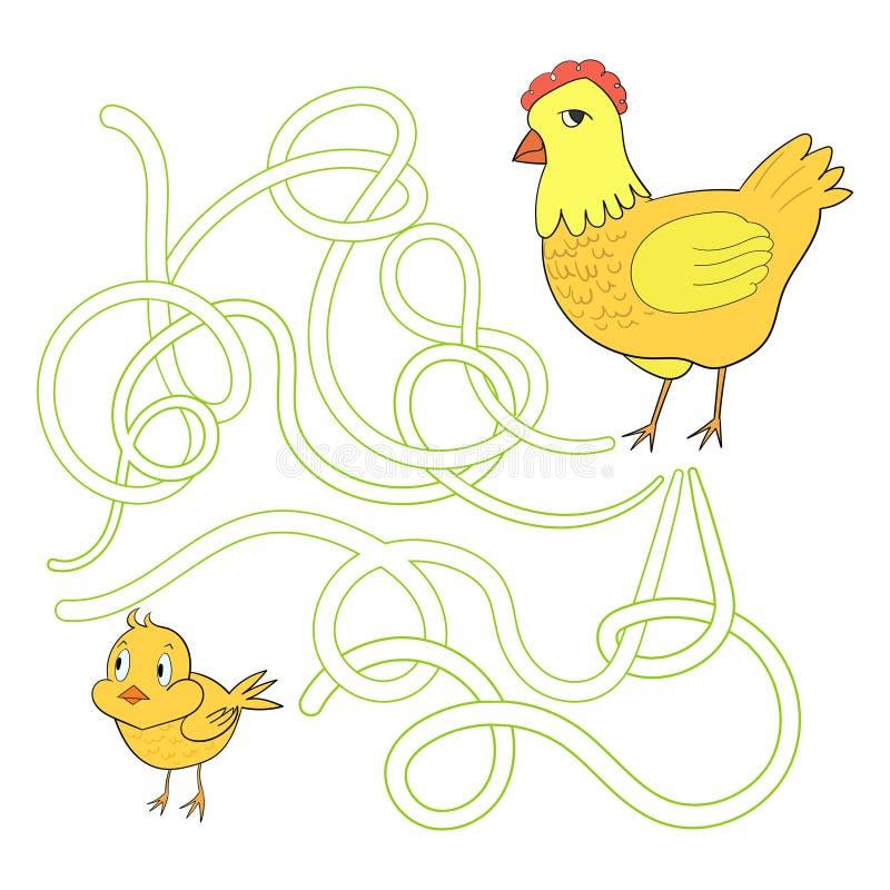 Лабиринт лабиринта находит курица цыпленка пути бесплатная иллюстрация