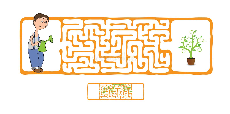 Лабиринт вектора, лабиринт с садовником и завод бесплатная иллюстрация
