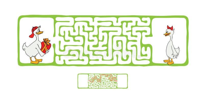 Лабиринт вектора, лабиринт с утками иллюстрация вектора