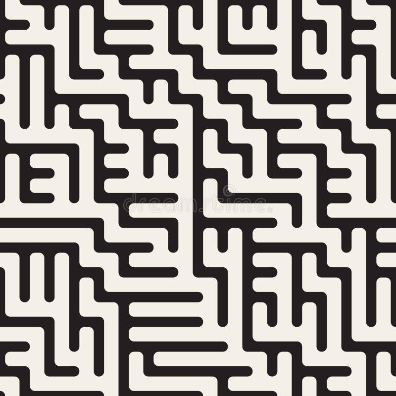 Лабиринт вектора безшовный черно-белый округленный скачками выравнивает картину иллюстрация штока