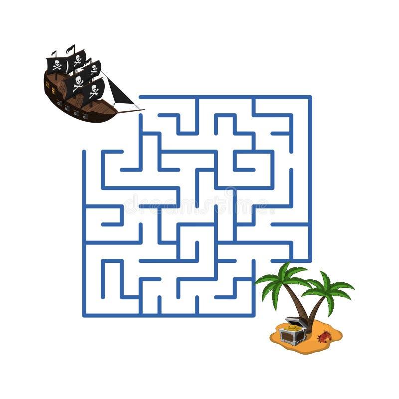 Лабиринт в стиле шаржа Остров пиратского корабля и сокровища Лабиринт игры ` s детей Головоломка детей бесплатная иллюстрация