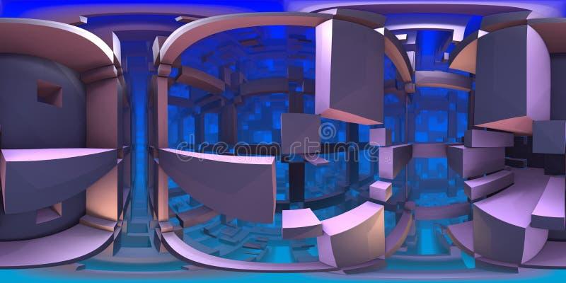 лабиринт 360 градусов, абстрактная панорама предпосылки лабиринта, equirectangular проекция, карта окружающей среды иллюстрация вектора