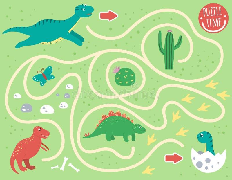Лабиринт для детей Preschool деятельность с динозавром иллюстрация вектора