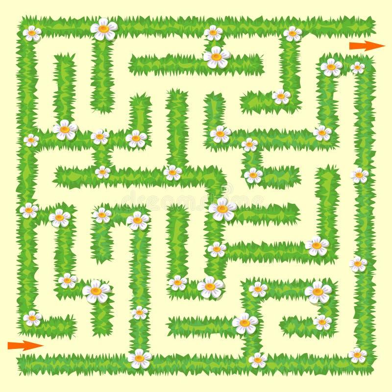 лабиринт Игра лабиринта для малышей Зеленая трава и стоцветы иллюстрация штока