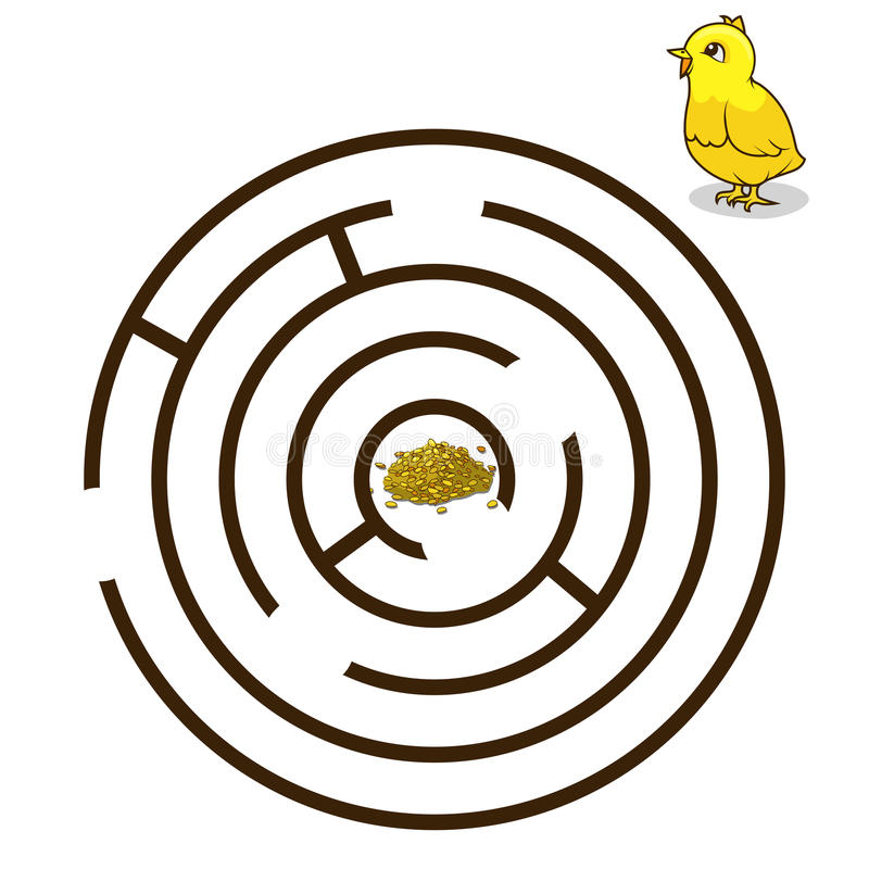Лабиринт игры находит вектор младенца цыпленка пути иллюстрация штока