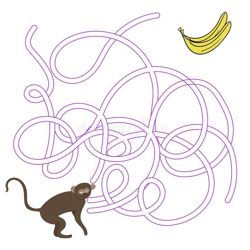 Лабиринт игры находит вектор обезьяны vervet пути бесплатная иллюстрация