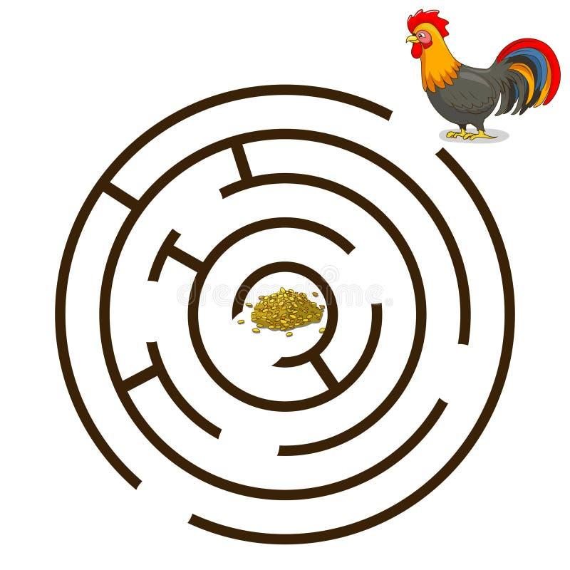 Лабиринт игры находит вектор петуха пути бесплатная иллюстрация