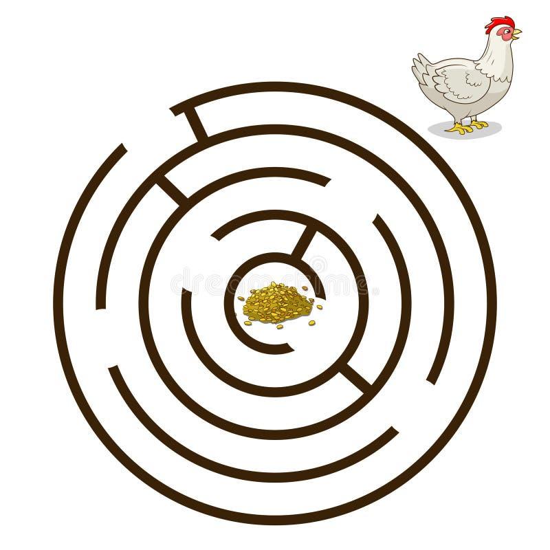 Лабиринт игры находит вектор цыпленка курицы пути иллюстрация вектора