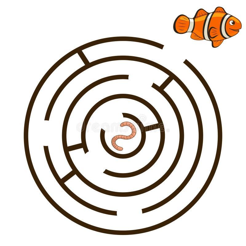 Лабиринт игры находит вектор clownfish пути иллюстрация штока