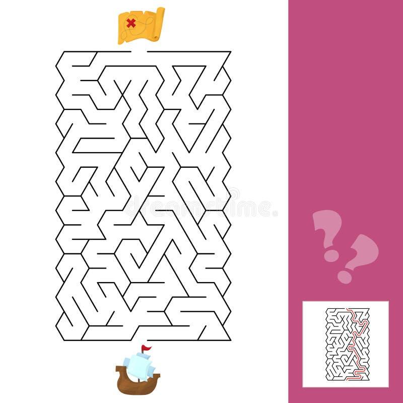 лабиринт Корабль - лабиринт игры детей s Головоломка детей с ответом иллюстрация вектора