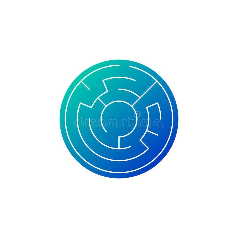 лабиринт круга в голубом значке градиента, иллюстрации вектора изолированной на белой предпосылке бесплатная иллюстрация