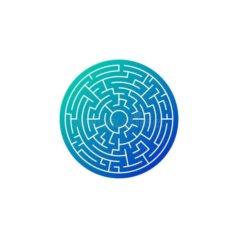 лабиринт круга в голубом значке градиента, иллюстрации вектора изолированной на белой предпосылке иллюстрация вектора