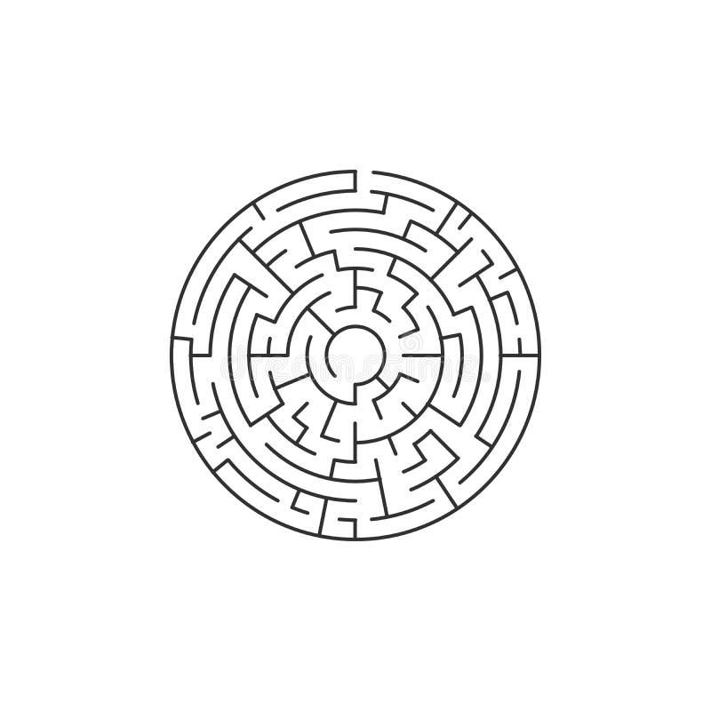 лабиринт круга, иллюстрация вектора изолированная на белой предпосылке иллюстрация вектора