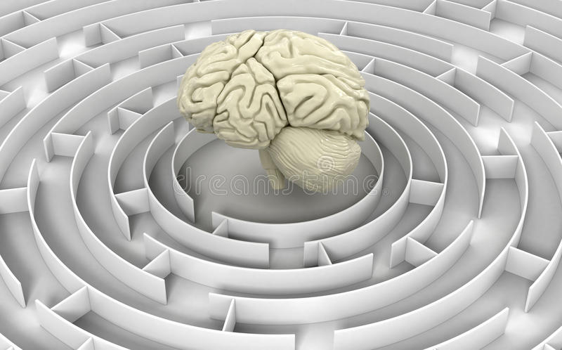 Лабиринт к человеческому мозгу иллюстрация вектора