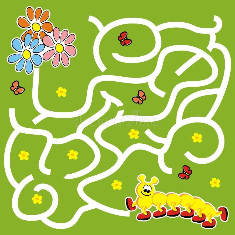 Лабиринт, настольная игра для детей, гусеница и цветки иллюстрация вектора