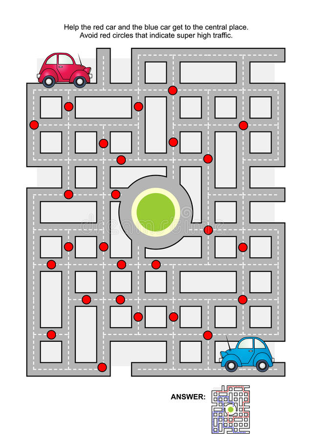 Лабиринт дороги с красными и голубыми автомобилями бесплатная иллюстрация