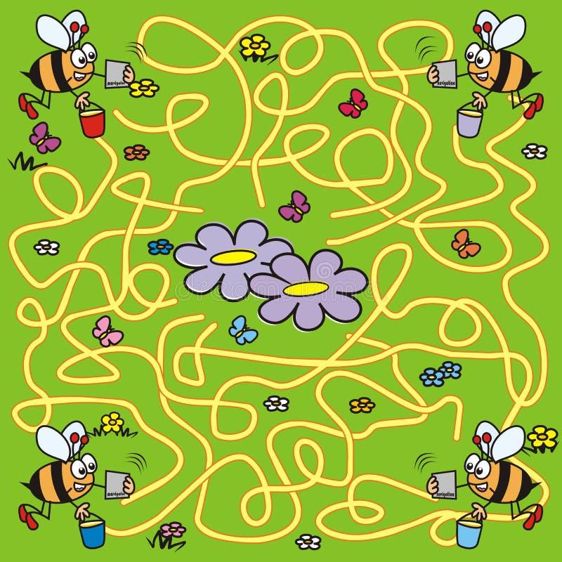 Лабиринт, пчелы и навигация иллюстрация штока