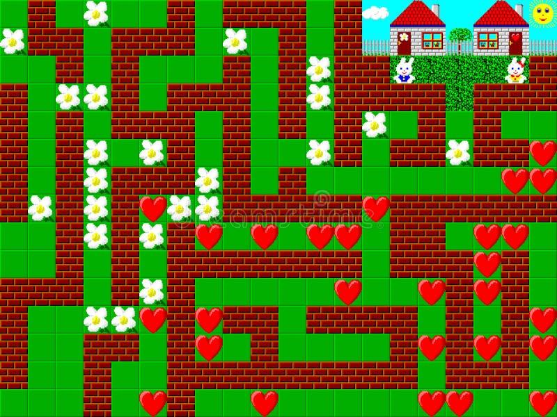 Лабиринт, ретро графики стиля игра pixelated иллюстрация вектора