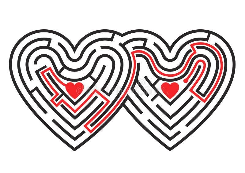 Лабиринт 2 сердец бесплатная иллюстрация