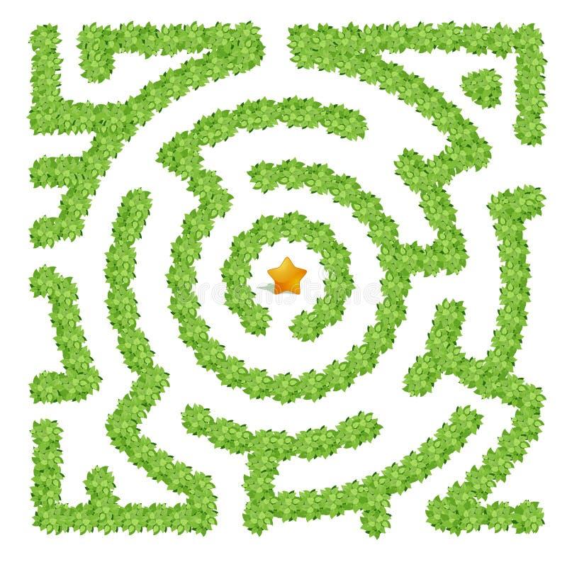 Лабиринт состоя из зеленых кустов на белой предпосылке иллюстрация штока